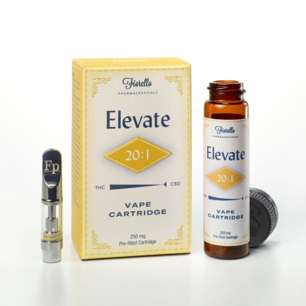 Fp WELLNESS Elevate 20:1 THC:CBD Vape Cartridge. Available at our NY Medical Marijuana Dispensaries